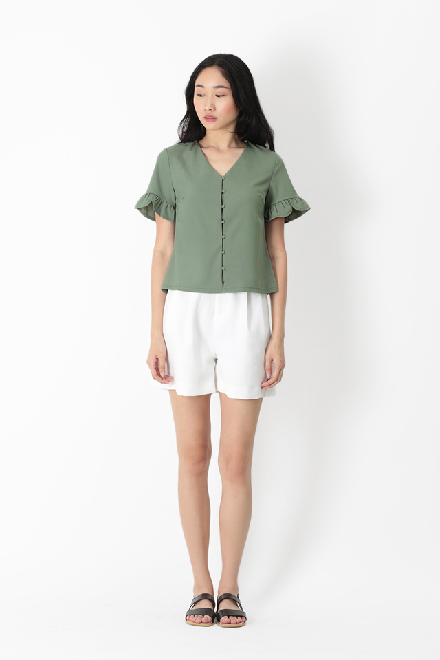 HAYLEY FRILL SLEEVE TOP IN SAGE