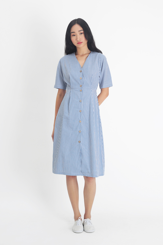 JUDITH STRIPE MIDI DRESS IN FRENCH BLUE