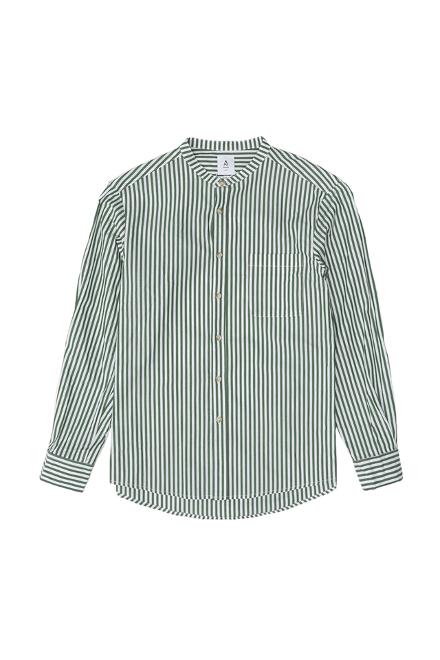 COHEN STRIPE BAND COLLAR SHIRT IN FOREST