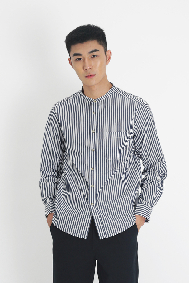 COHEN STRIPE BAND COLLAR SHIRT IN NAVY