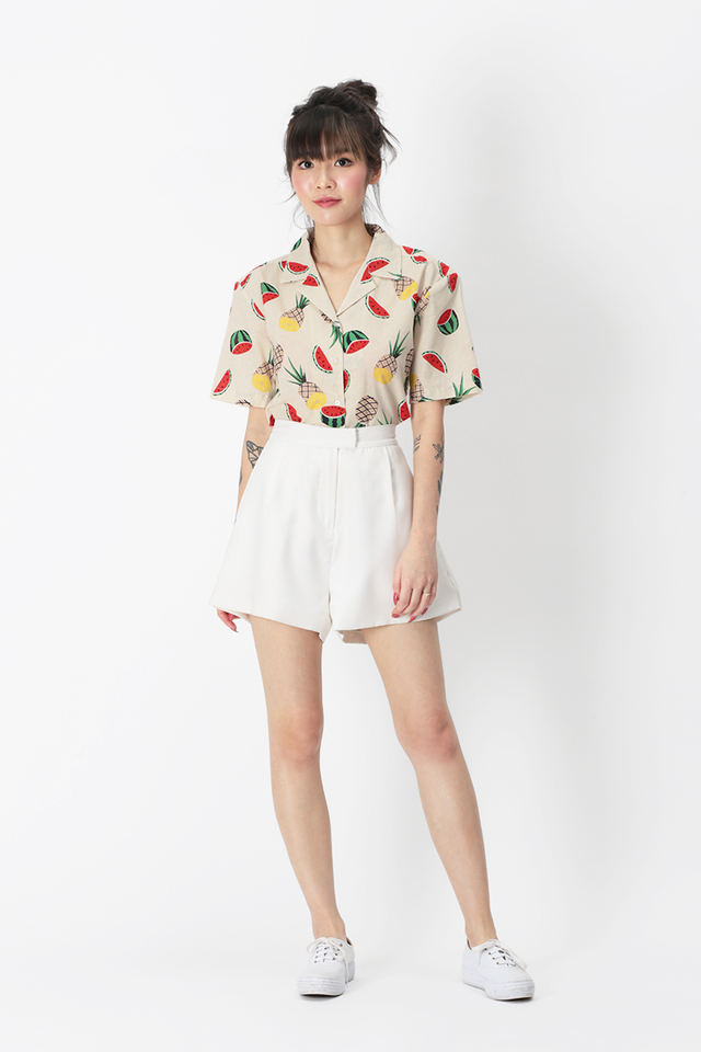 LOCO LOCO WATERMELON CAMP COLLAR SHIRT IN CREAM