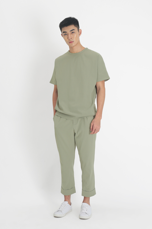 LOWELL TAPERED-FIT TROUSERS IN SAGE