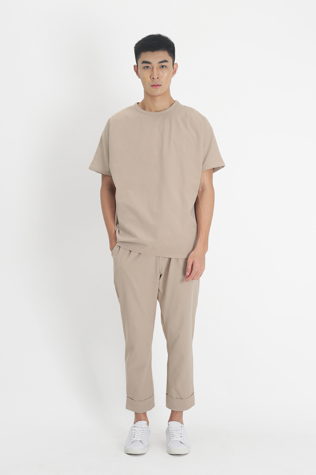 LOWELL TAPERED-FIT TROUSERS IN SAND