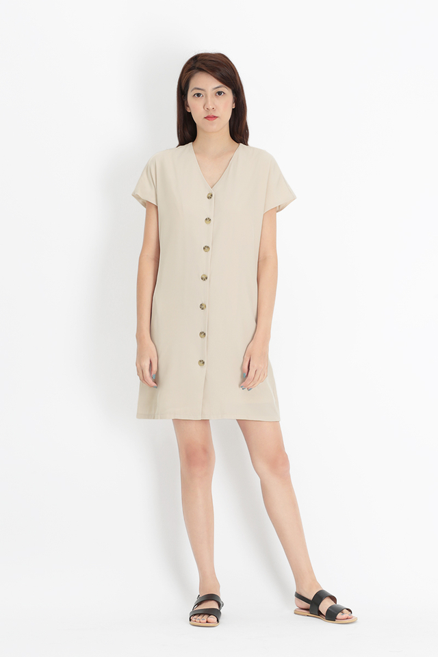 MOLLY BUTTON SASH DRESS IN CREAM