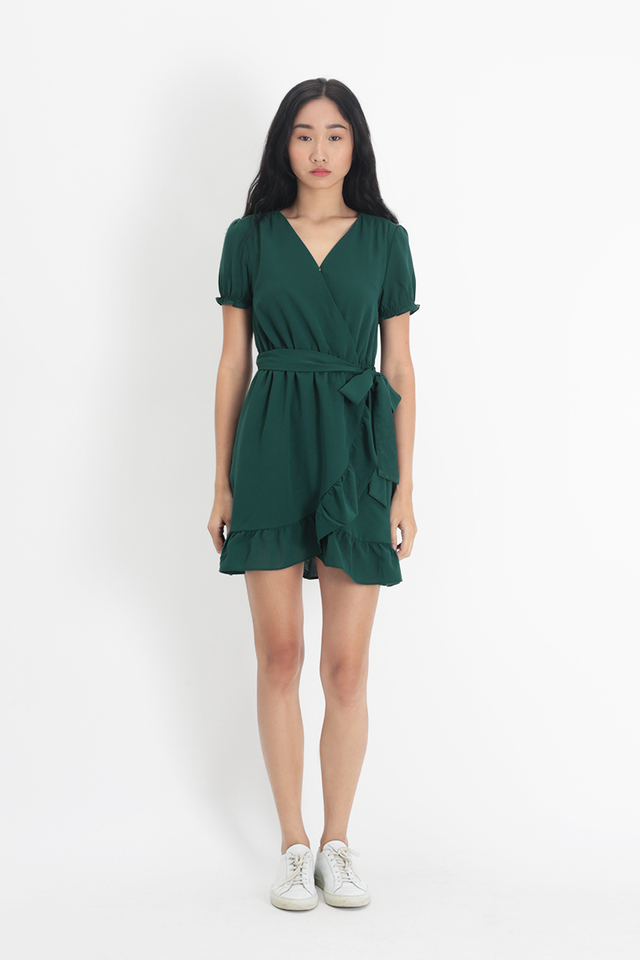 ROSA FRILL DRESS IN FOREST