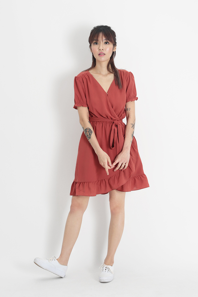 ROSA FRILL DRESS IN ROSEWOOD
