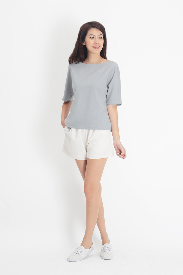 SANDRA LINEN WIDE NECK BLOUSE IN CLOUD GREY
