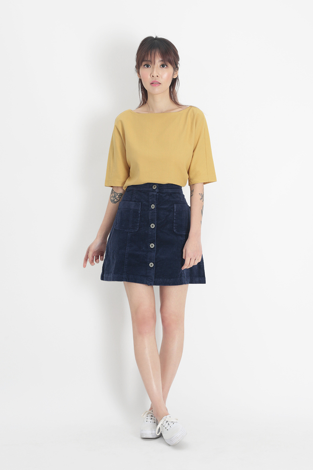 SANDRA LINEN WIDE NECK BLOUSE IN PRIMROSE YELLOW
