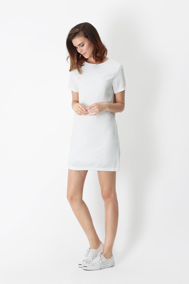 ADDIE TEE DRESS IN WHITE