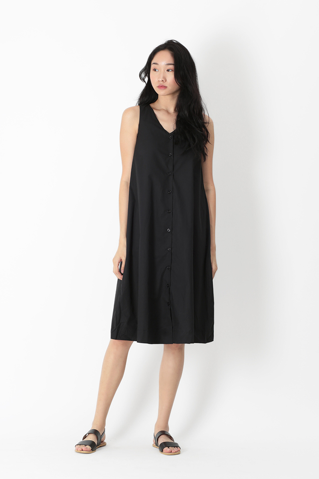 ARYA BUTTON MIDI DRESS IN BLACK