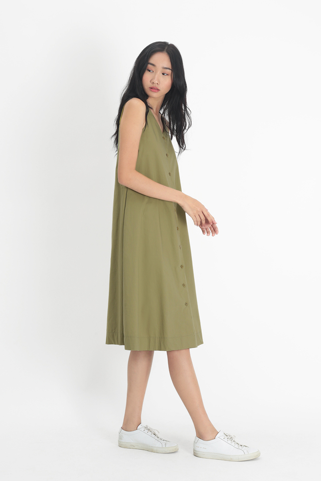 ARYA BUTTON MIDI DRESS IN OLIVE