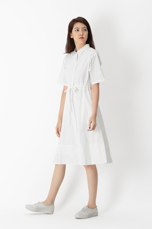 BILLIE DRAWSTRING SHIRT DRESS IN WHITE