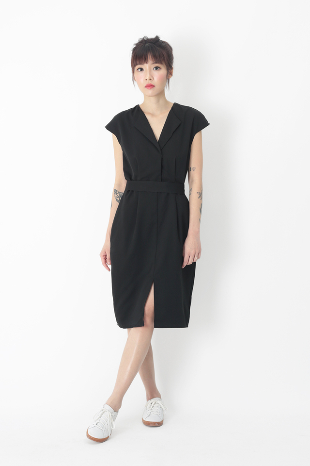 CHARISSE TULIP DRESS IN BLACK