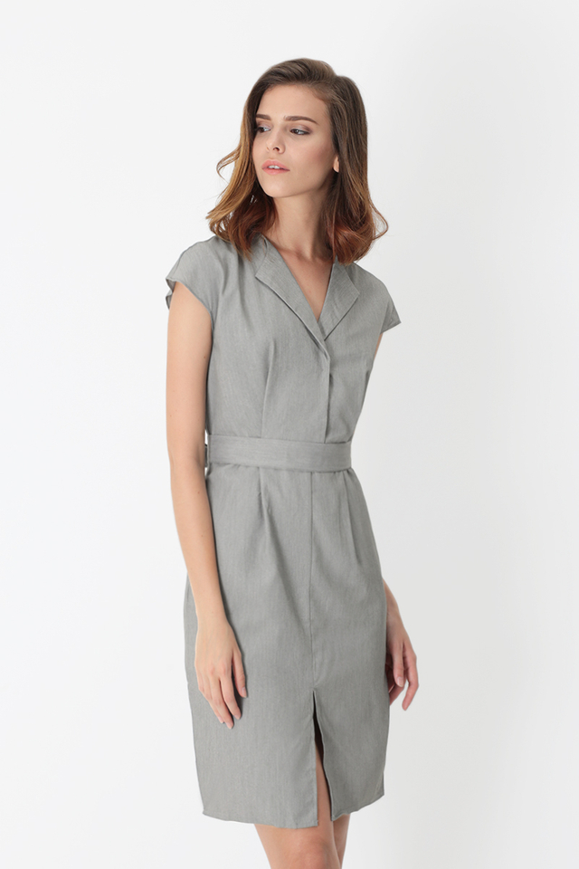 CHARISSE TULIP DRESS IN SUIT GREY