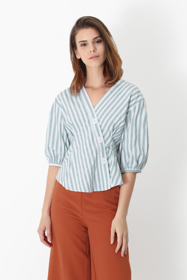 DEIDRA STRIPE BUTTON BLOUSE IN DUSK BLUE