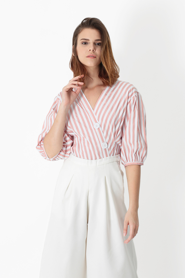 DEIDRA STRIPE BUTTON BLOUSE IN FRENCH PINK