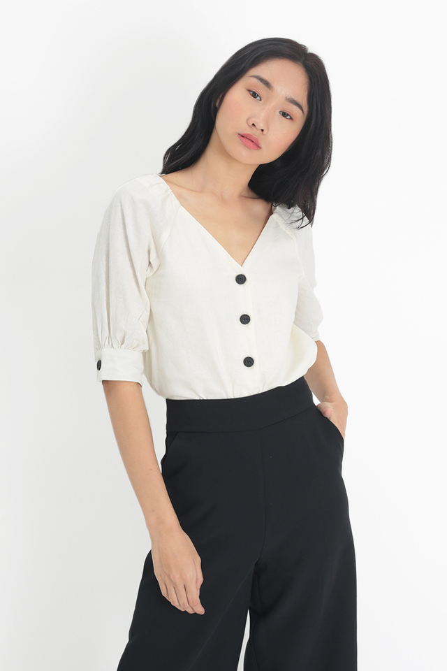 ESME BUTTON BLOUSE IN WHITE