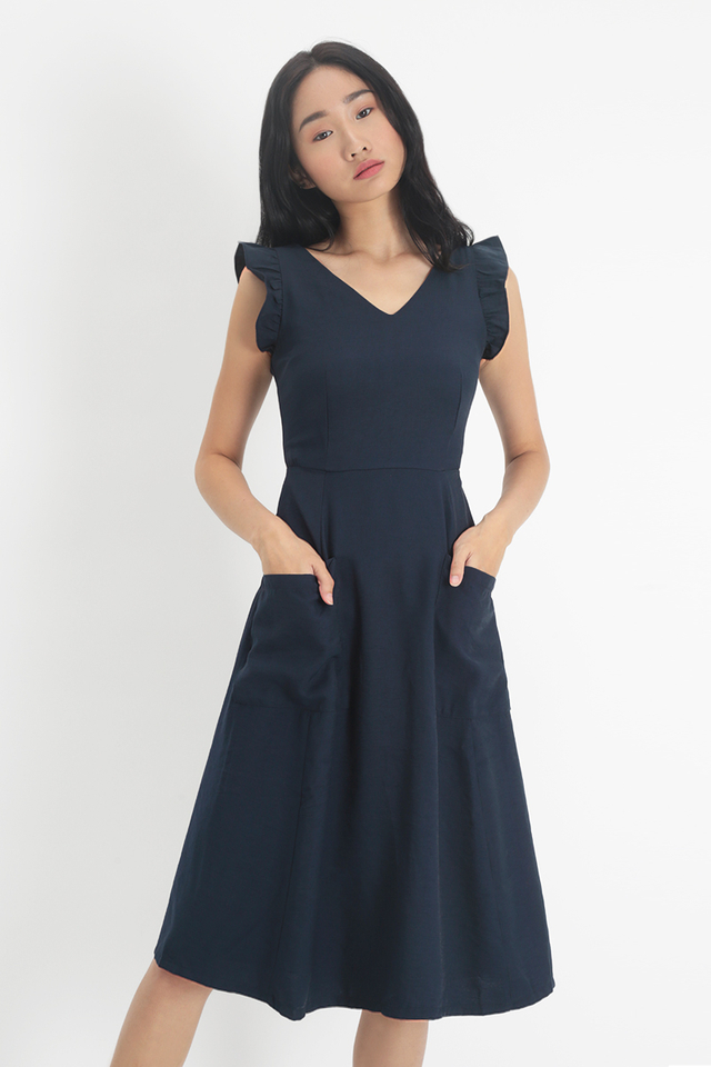 IMELDA FRILL SLEEVE PATCH POCKET DRESS IN NAVY
