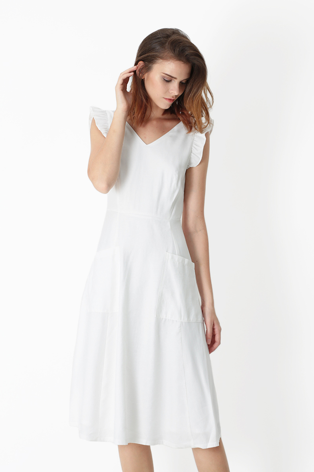 IMELDA FRILL SLEEVE PATCH POCKET DRESS IN WHITE