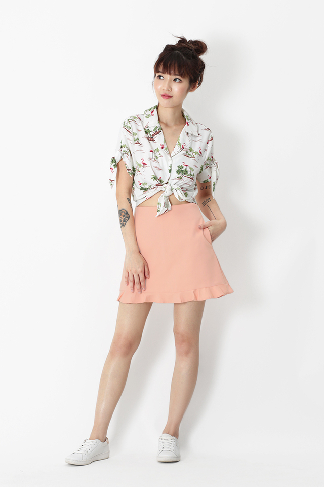KALEA FLAMINGO CAMP COLLAR SHIRT IN WHITE