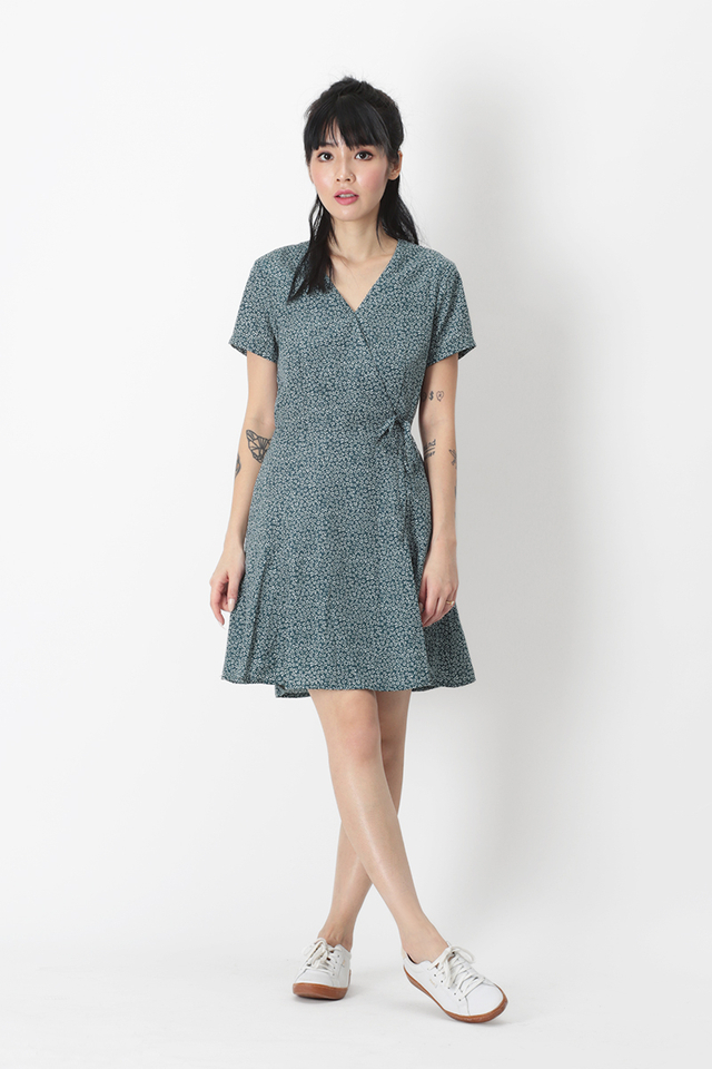 KIT MINI FLORAL SWING DRESS IN PINE