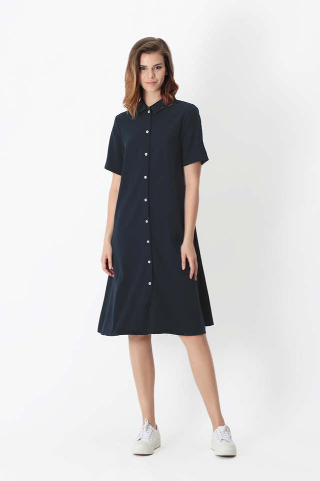 LUANNA BUTTON SHIRT DRESS IN NAVY