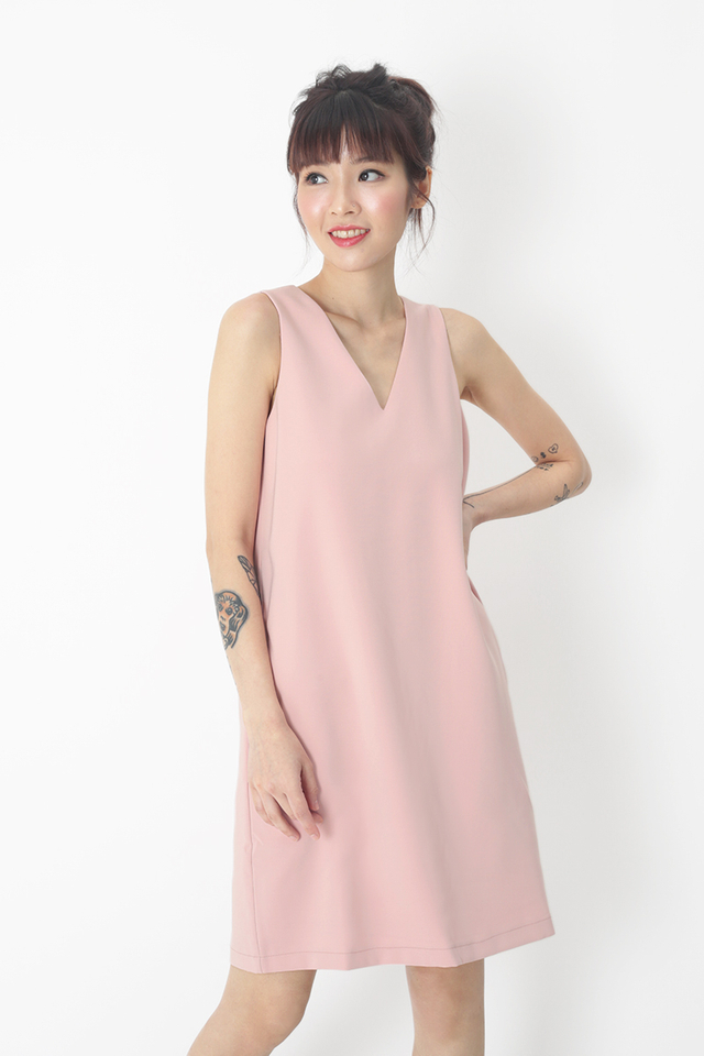 NISHA V-NECK SHIFT DRESS IN FRENCH PINK
