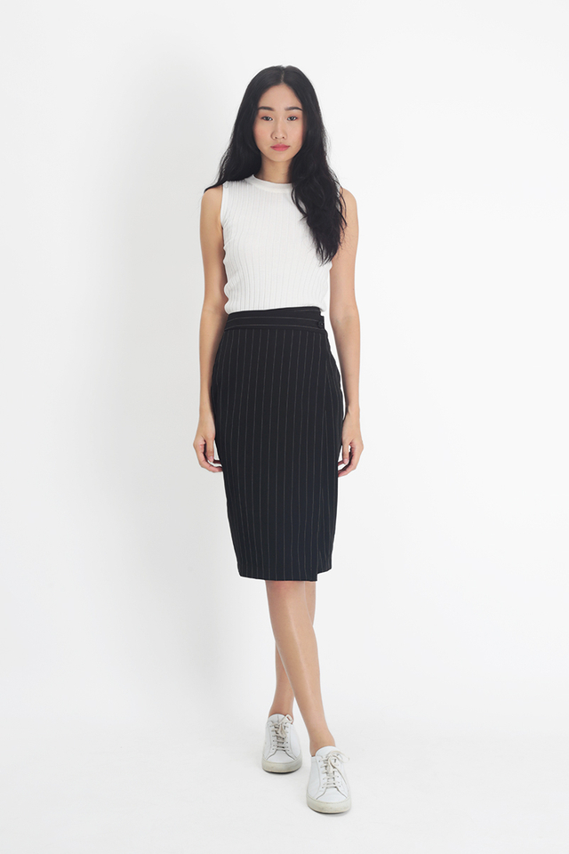 TRISHA STRIPE MIDI SKIRT IN BLACK