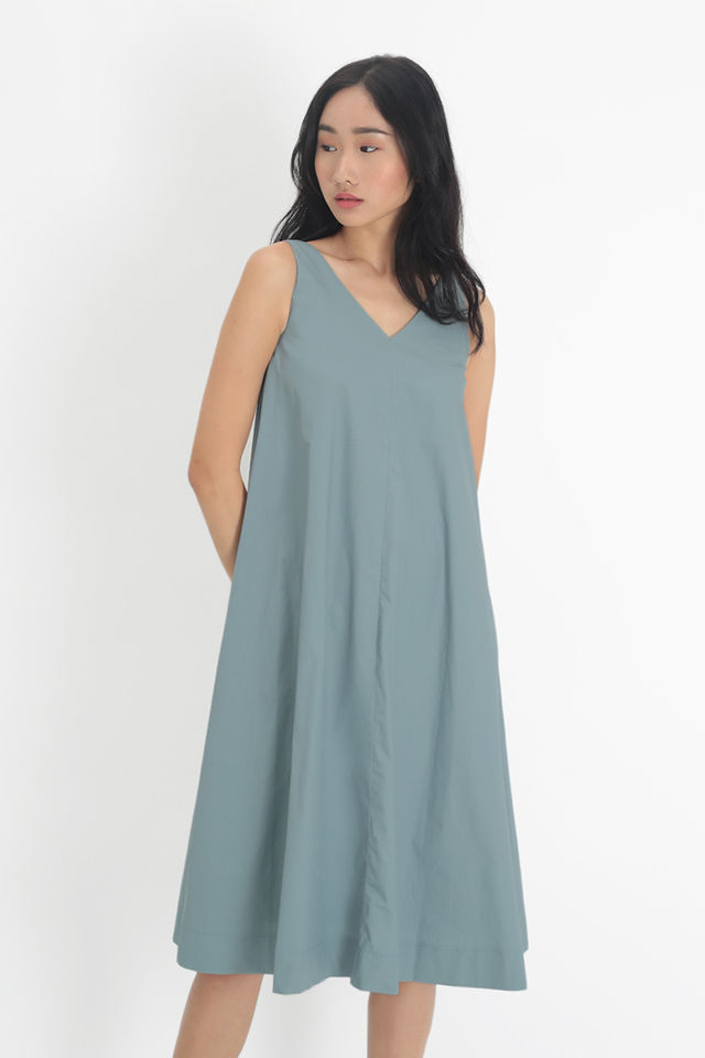 WILLOW V-NECK FLARE DRESS IN DUSK BLUE