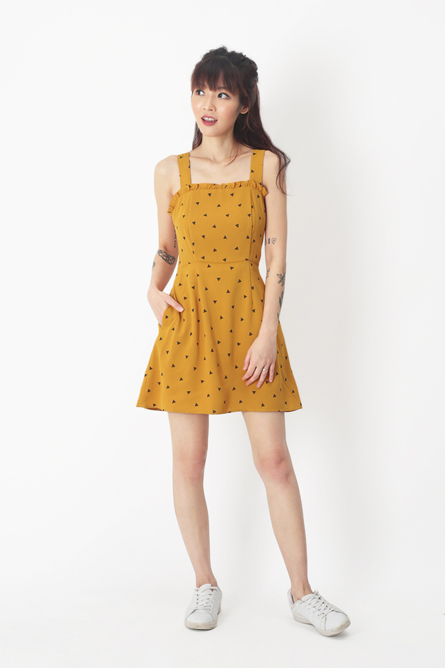 BECCA GEOMETRIC FRILL ROMPER DRESS IN HONEY
