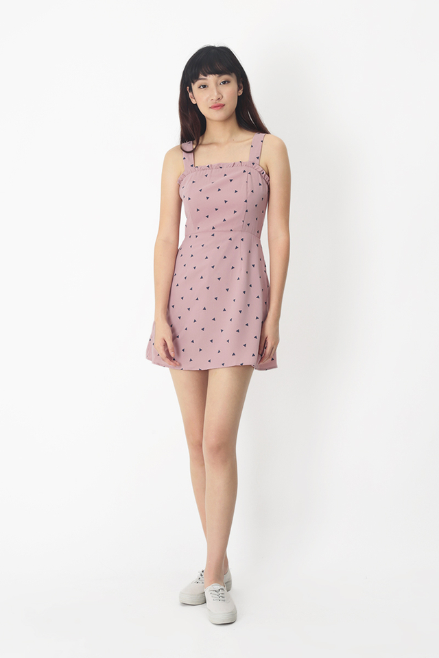 BECCA GEOMETRIC FRILL ROMPER DRESS IN PINK