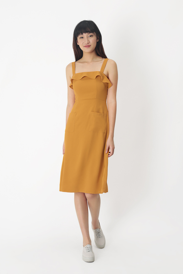 DARLENE PATCH POCKET DRESS IN HONEY