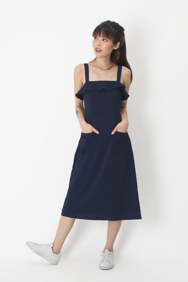 DARLENE PATCH POCKET DRESS IN NAVY