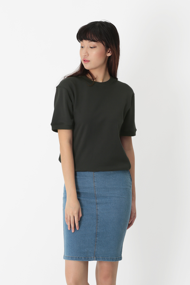 ELI SHORT SLEEVE SWEATSHIRT IN CHARCOAL