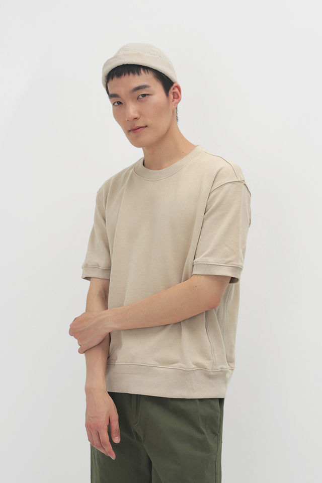 ELI SHORT SLEEVE SWEATSHIRT IN CREAM