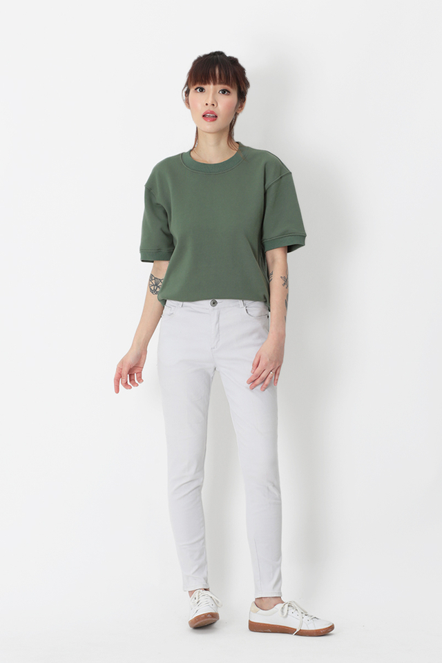 ELI SHORT SLEEVE SWEATSHIRT IN FERN