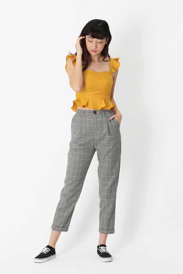 EMERY CHECKERED PEG LEG PANTS IN EMERALD