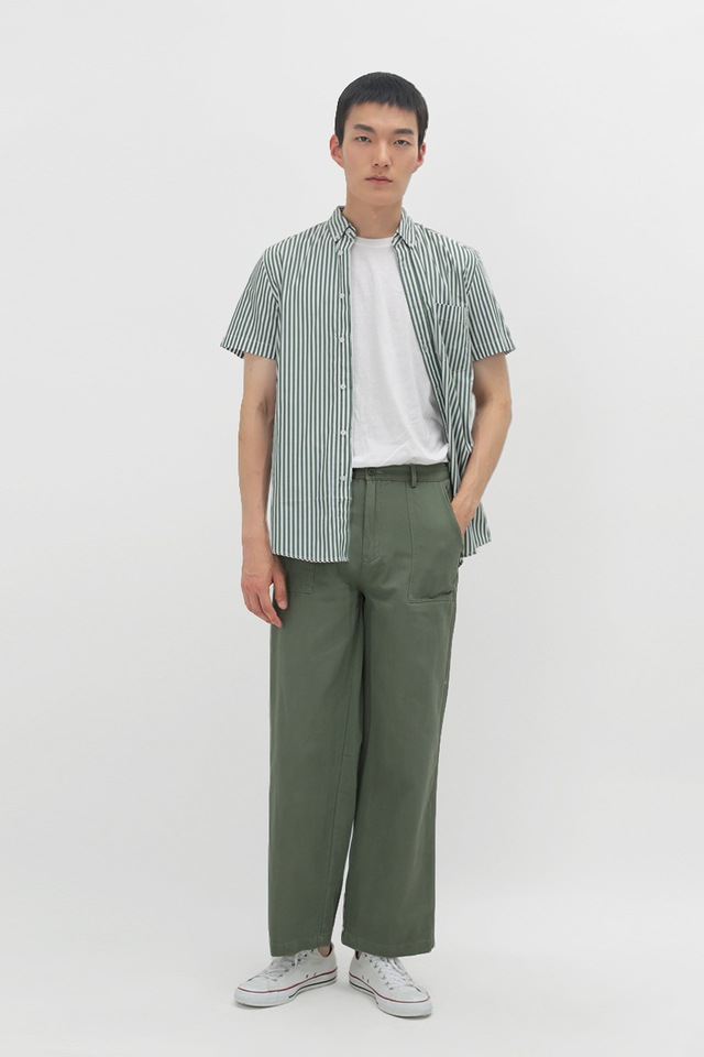 ENZO STRAIGHT-FIT WORK TROUSERS IN FERN