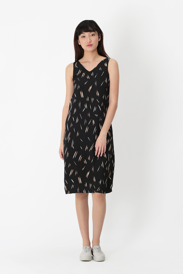 LUNA BRUSHSTROKE V-NECK MIDI DRESS IN BLACK