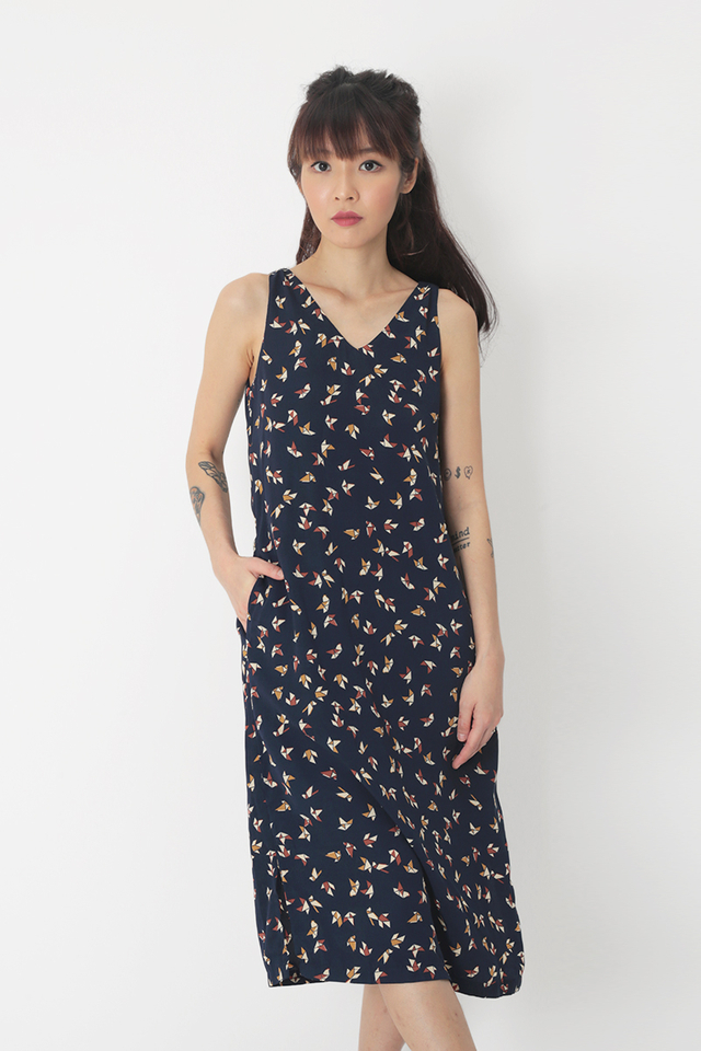 LUNA ORIGAMI V-NECK MIDI DRESS IN NAVY