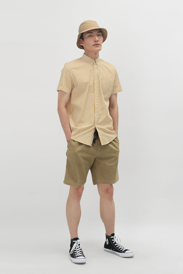 NATE SHORT SLEEVE STRIPE SHIRT IN MUSTARD