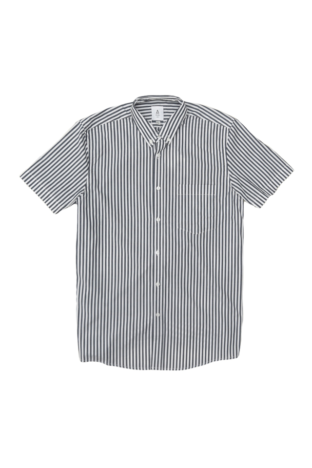 NATE SHORT SLEEVE STRIPE SHIRT IN NAVY
