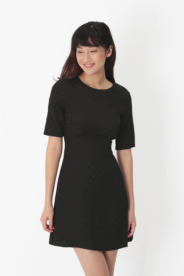 OLENA POLKADOT A-LINE DRESS IN BLACK