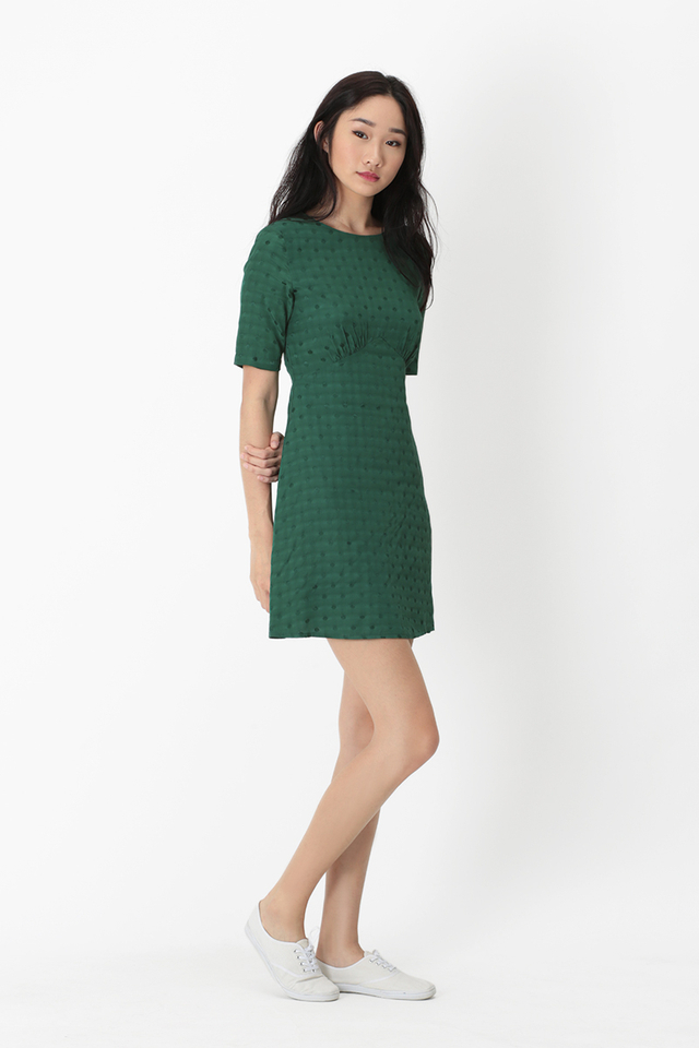 OLENA POLKADOT A-LINE DRESS IN FOREST
