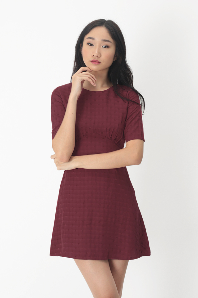 OLENA POLKADOT A-LINE DRESS IN WINE