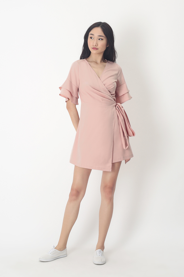 PAULINA WRAP DRESS IN FRENCH PINK