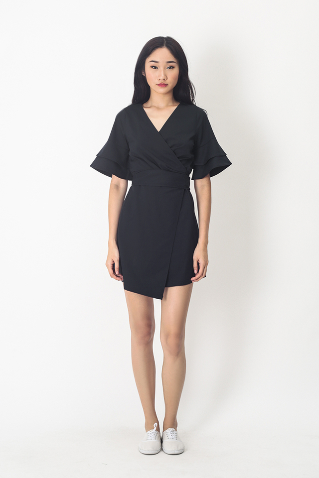 PAULINA WRAP DRESS IN NAVY