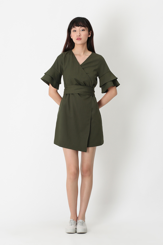 PAULINA WRAP DRESS IN VINEYARD GREEN