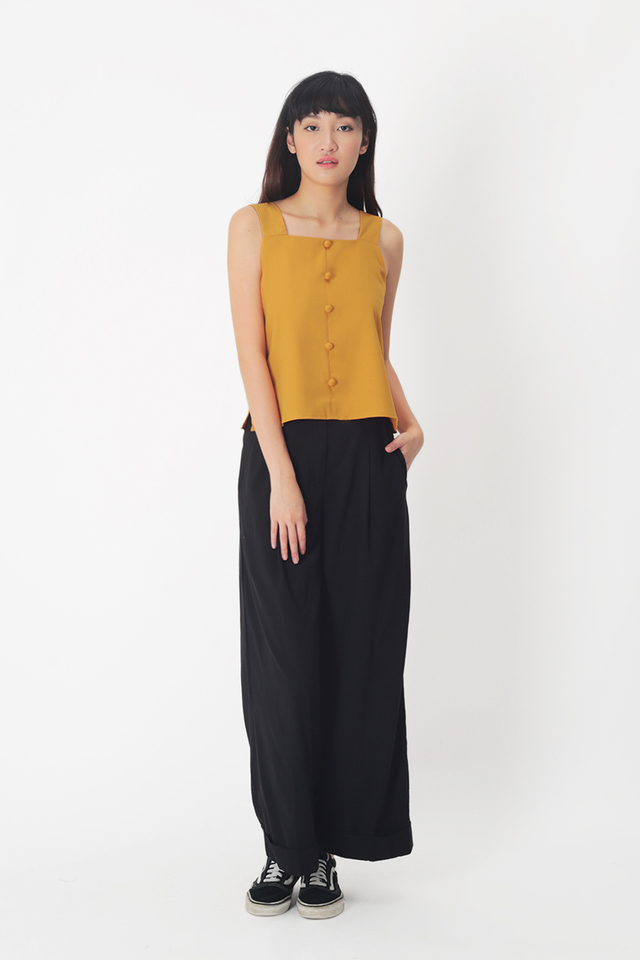 SKYLAR SQUARE NECK BUTTON TOP IN HONEY