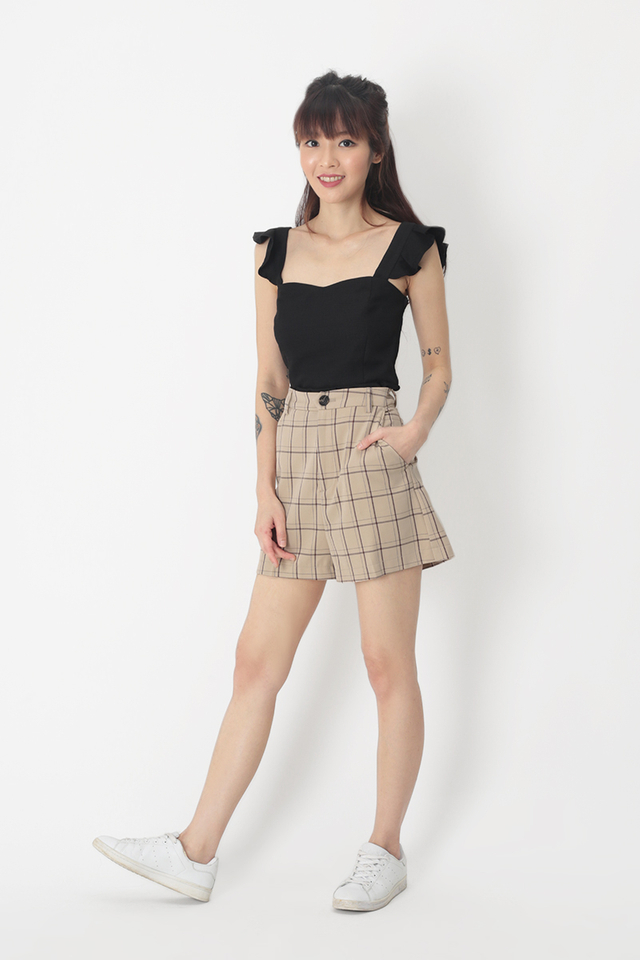 TERRI CHECKERED HI-WAIST SHORTS IN BISCOTTI